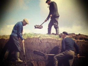 men cutting turf old